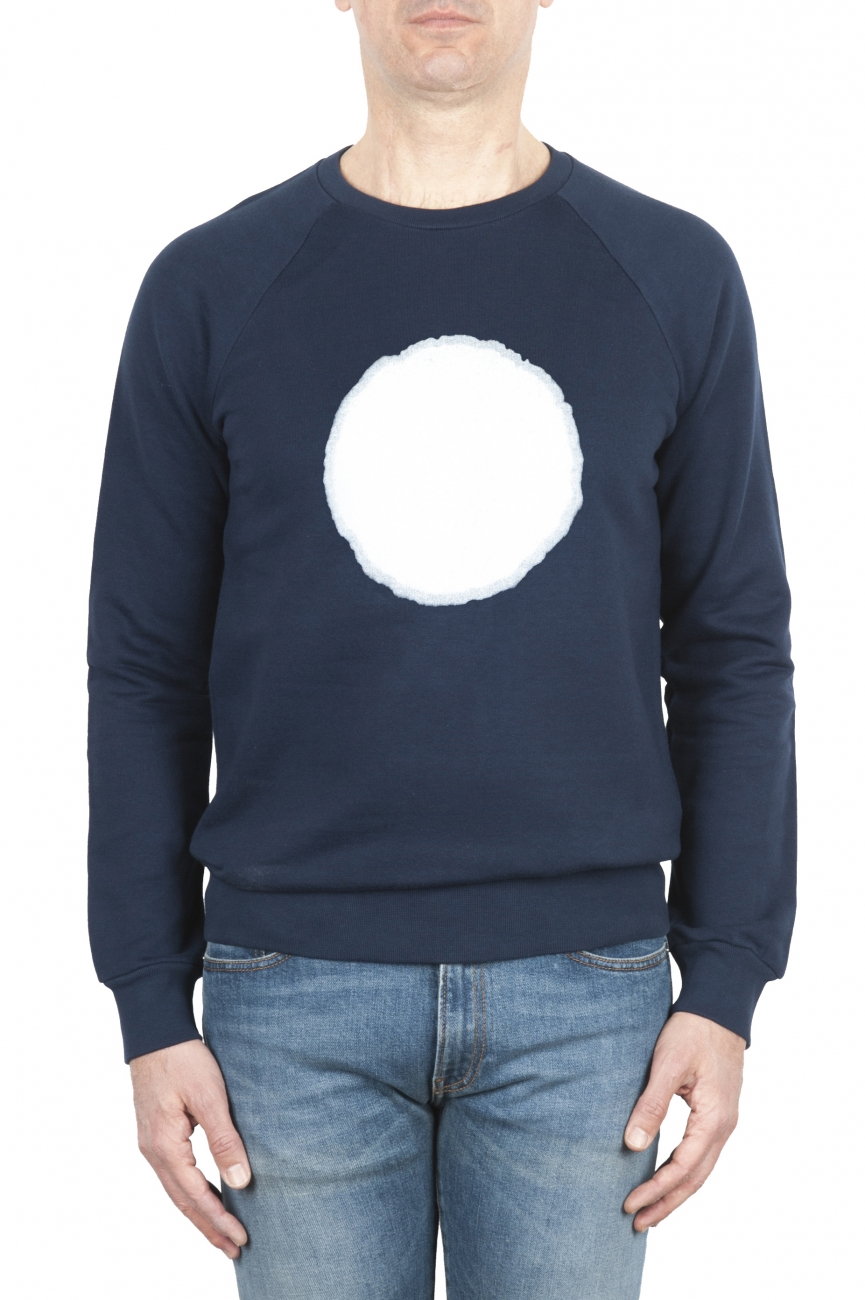 SBU 01796 Hand printed crewneck blue sweatshirt 01