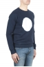 SBU 01796 Hand printed crewneck blue sweatshirt 02