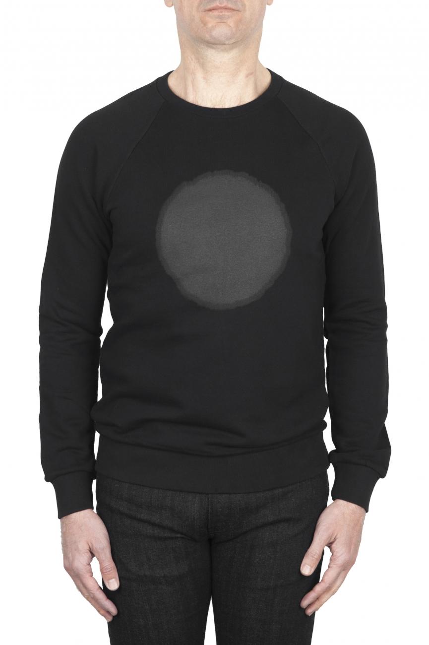 SBU 01797 Hand printed crewneck black sweatshirt 01