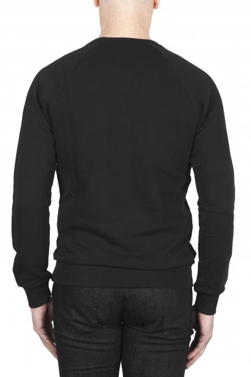 SBU 01797 ハンドプリントクルーネックブラックスウェットシャツ 01