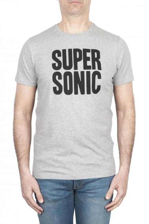 SBU 01798 Camiseta gris mélange de cuello redondo estampado a mano 01