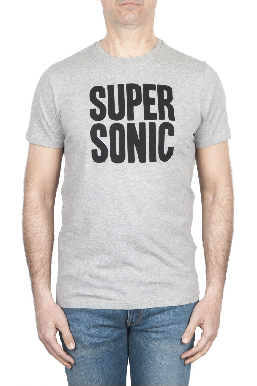 SBU 01798 T-shirt girocollo grigia melange stampata a mano 01