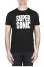 SBU 01799 Round neck black t-shirt printed by hand 01