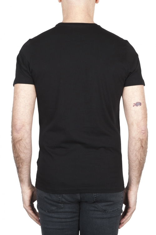 SBU 01799 Round neck black t-shirt printed by hand 01