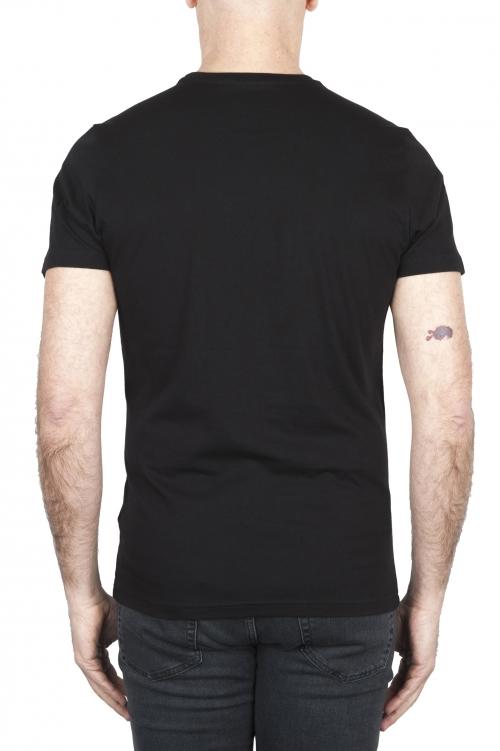 SBU 01799 T-shirt girocollo nera stampata a mano 01
