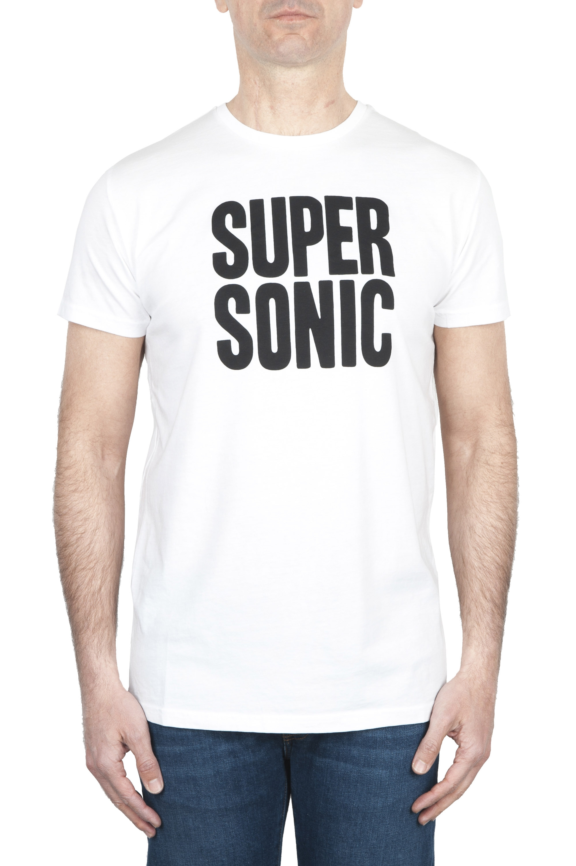 SBU 01800 T-shirt blanc à col rond imprimé à la main 01