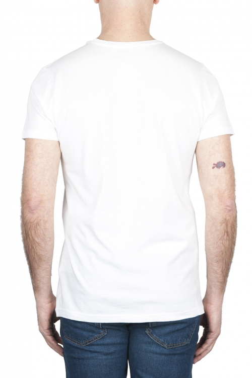 SBU 01800 Round neck white t-shirt printed by hand 01