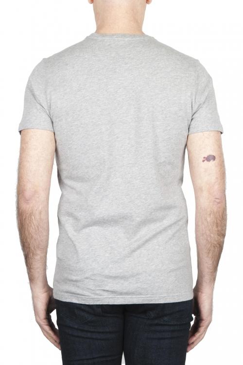 SBU 01801 T-shirt girocollo grigia melange stampata a mano 01