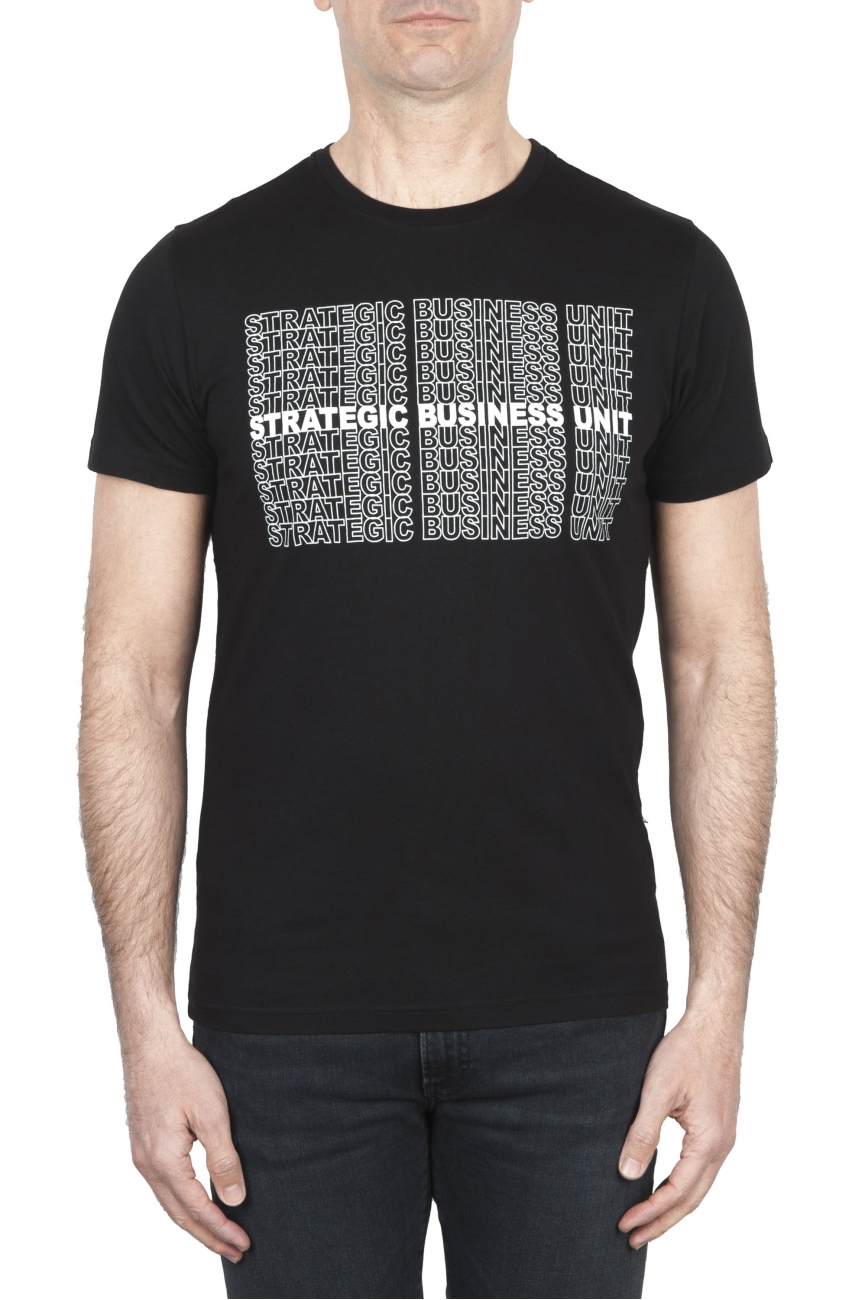 SBU 01802 Round neck black t-shirt printed by hand 01