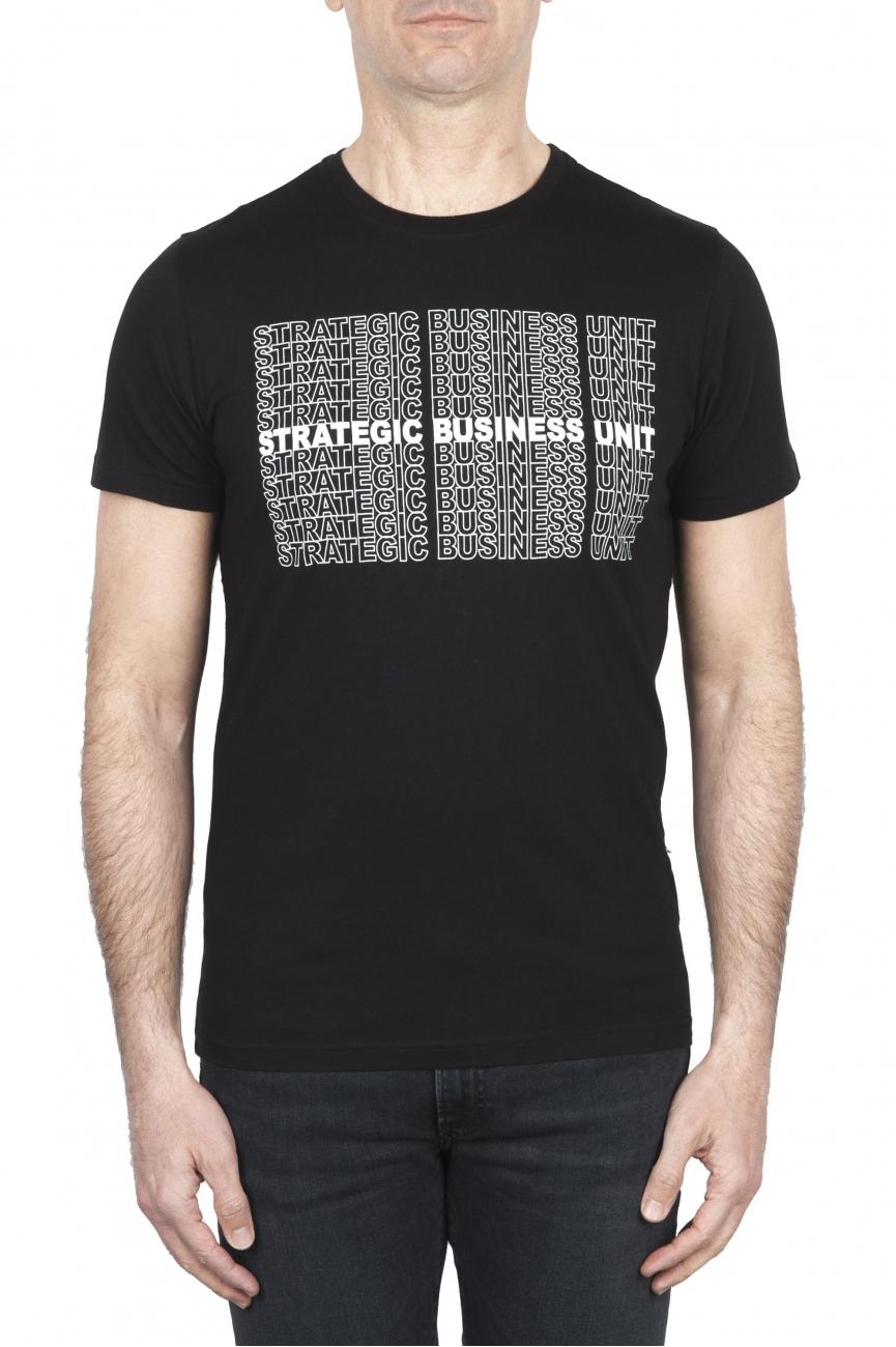 SBU 01802 T-shirt noir à col rond imprimé à la main 01