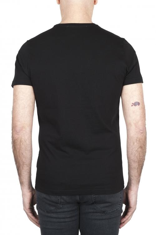 SBU 01802 T-shirt girocollo nera stampata a mano 01