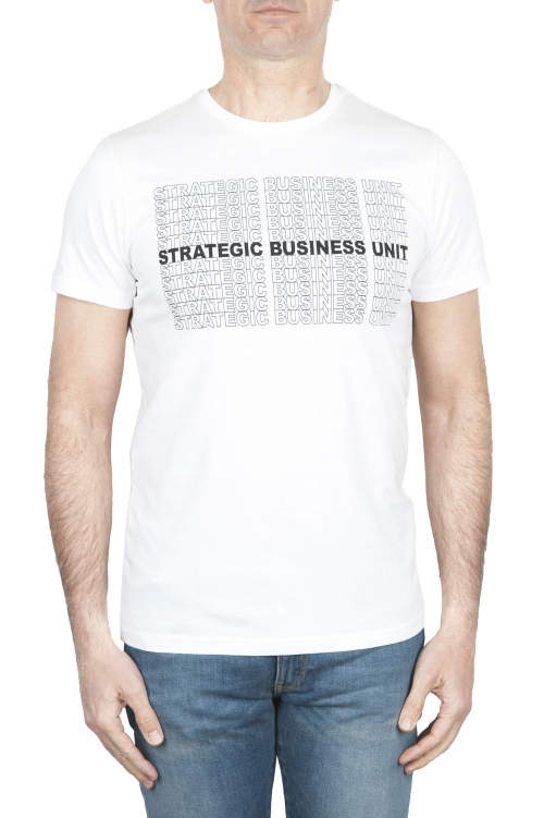 SBU 01803 Round neck white t-shirt printed by hand 01