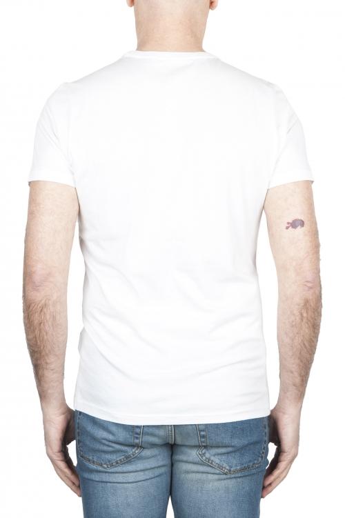 SBU 01803 T-shirt girocollo bianca stampata a mano 01