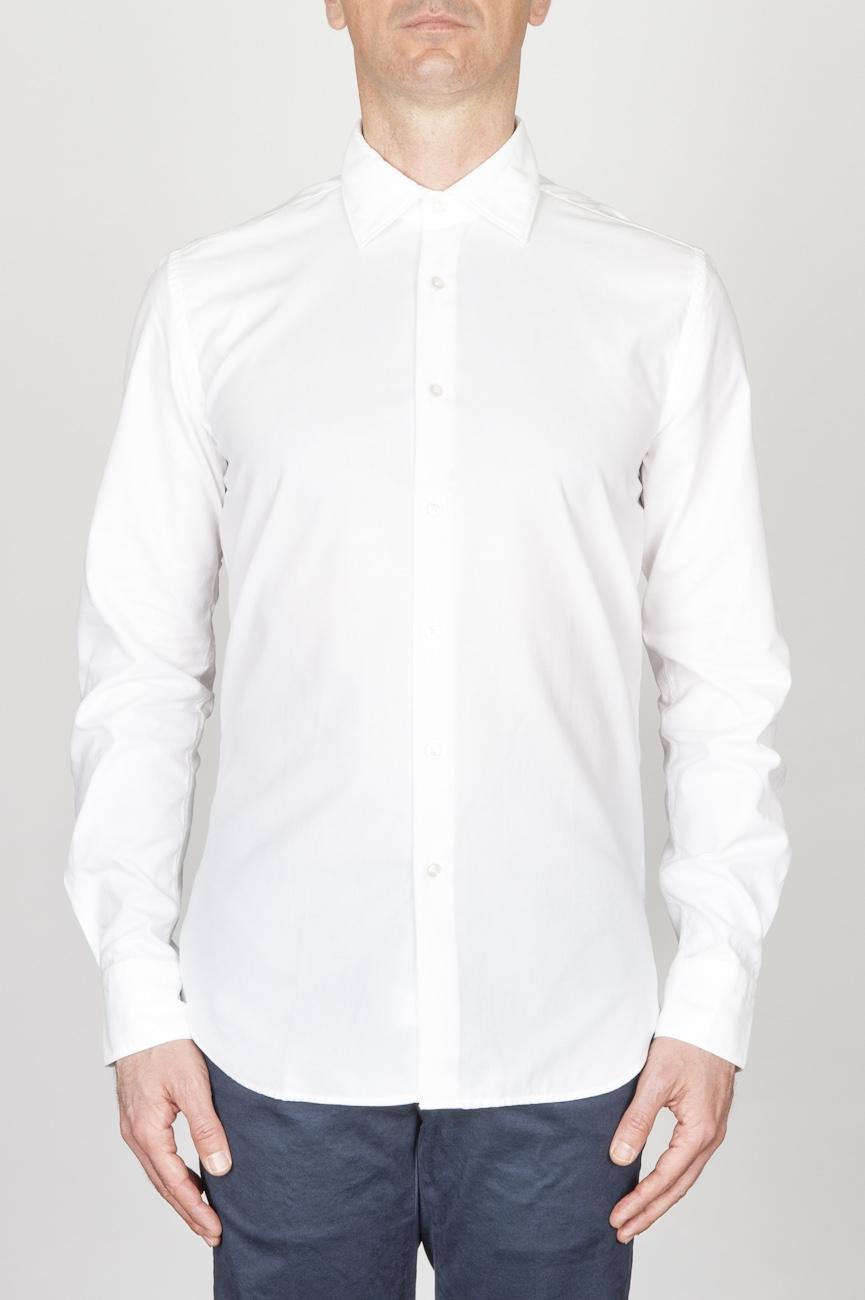 SBU - Strategic Business Unit - クラシックなポイントカラーホワイトオックスフォードスーパーコットンシャツ