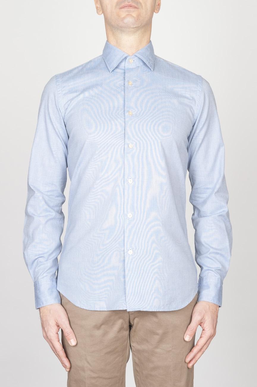 クラシックポイントカラーブルーオックスフォードスーパーコットンシャツ