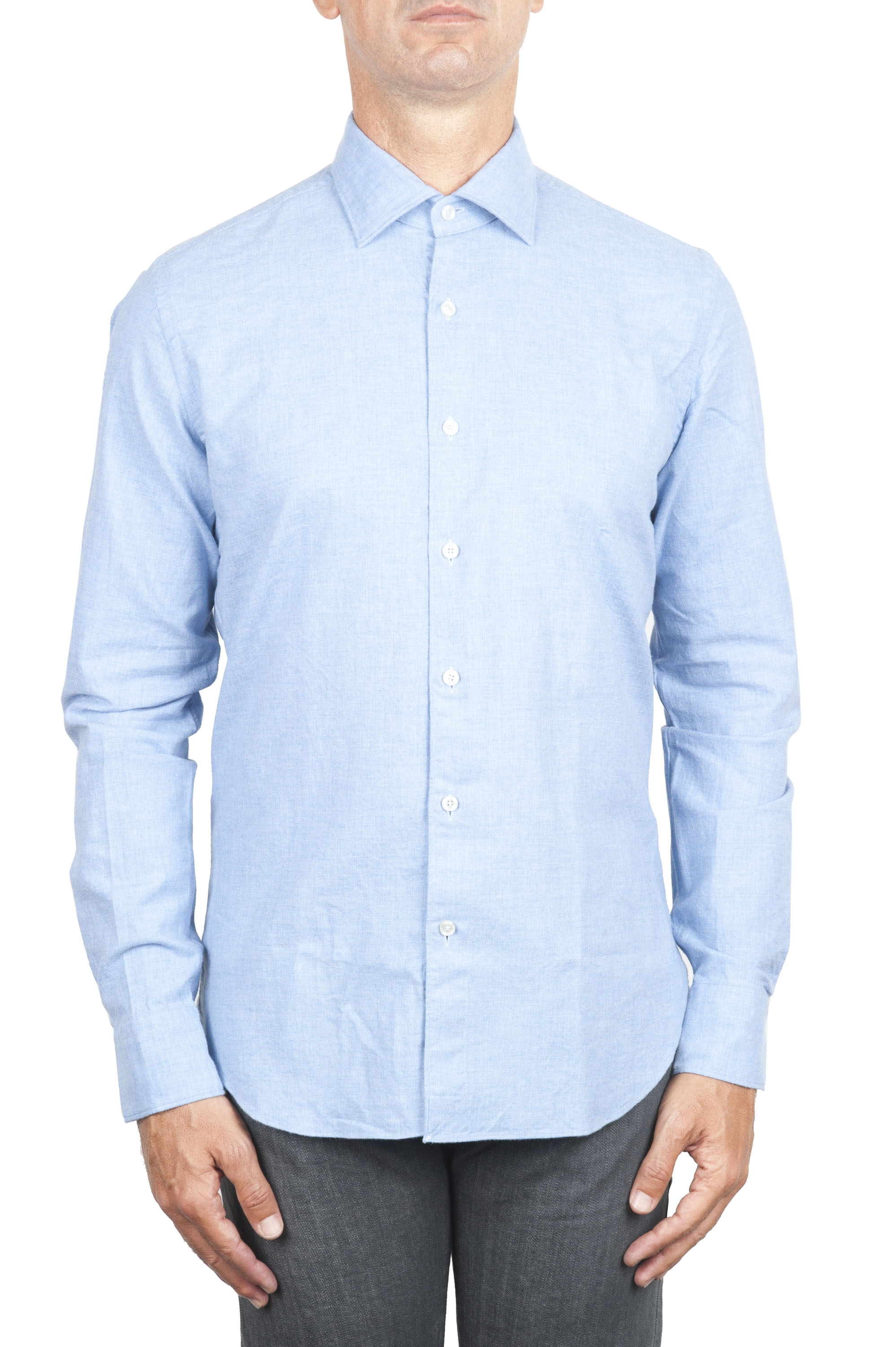 SBU 01307_19AW Plain soft cotton blue flannel shirt 01