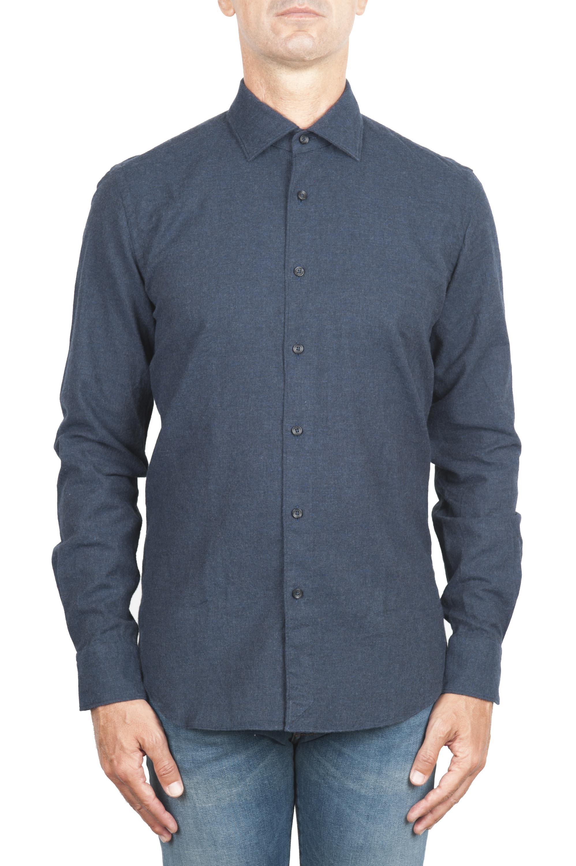 SBU 01309_19AW Camicia in flanella di cotone tinta unita blu navy 01