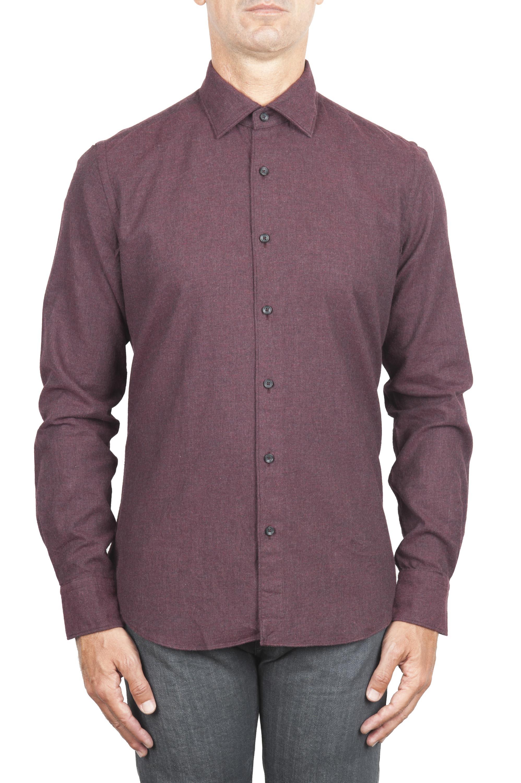 SBU 01310_19AW Camicia in flanella di cotone tinta unita Bordeaux 01