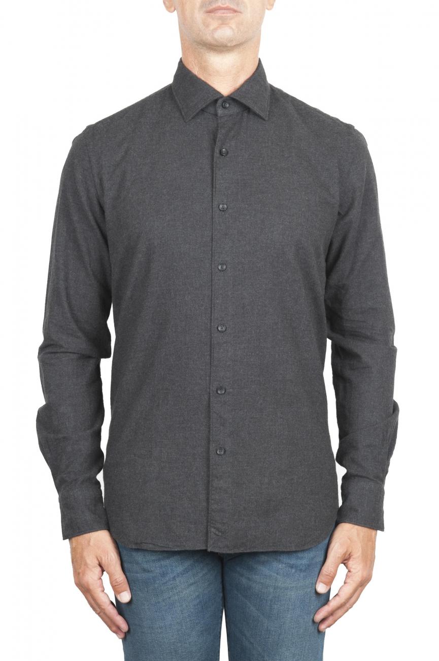 SBU 01311_19AW プレーンコットングレーのフランネルシャツ 01