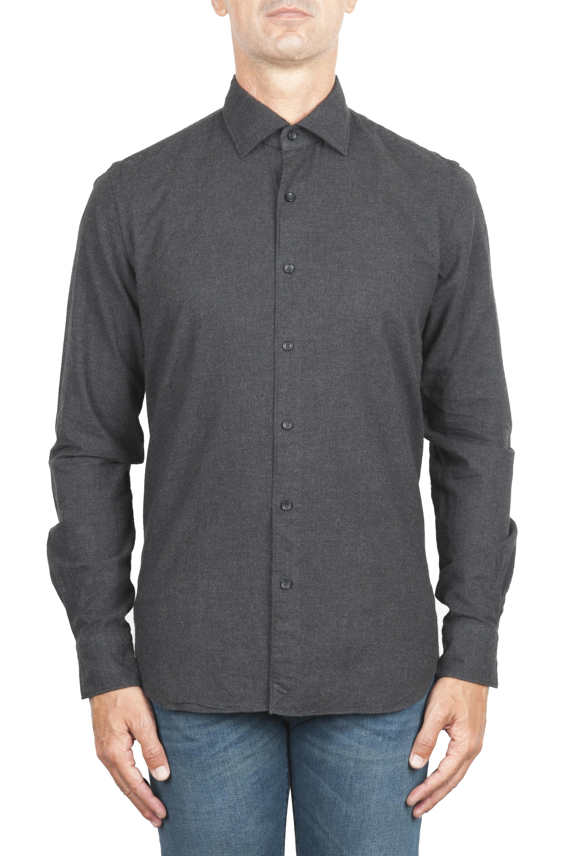 SBU 01311_19AW Plain soft cotton grey flannel shirt 01