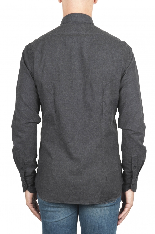SBU 01311_19AW Plain soft cotton grey flannel shirt 01
