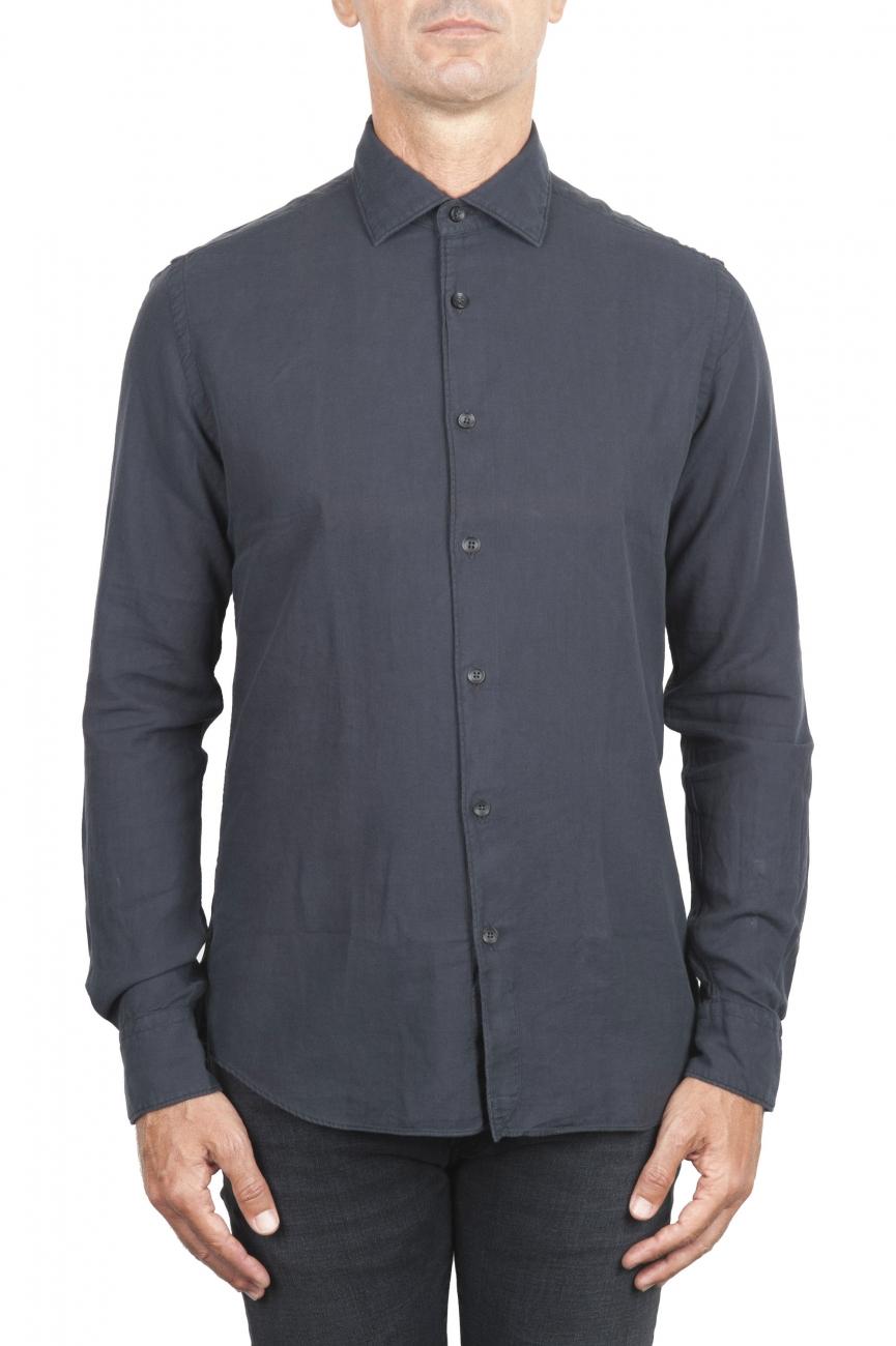 SBU 01316_19AW Camisa de sarga de algodón gris 01