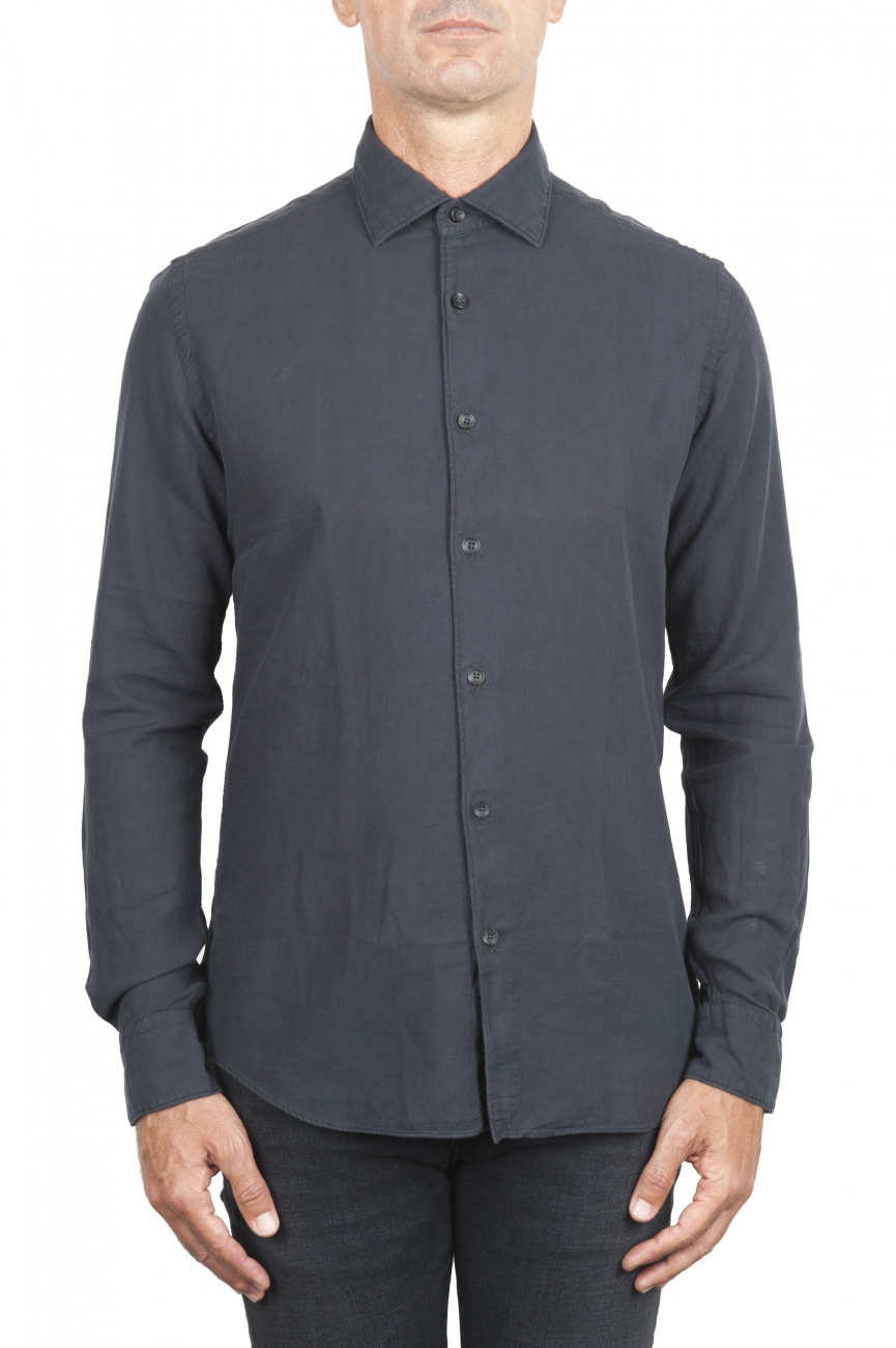 SBU 01316_19AW Grey cotton twill shirt 01