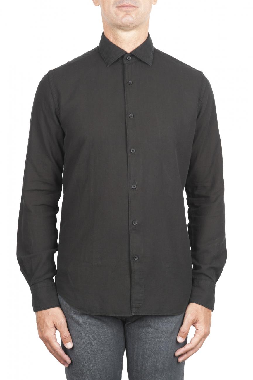 SBU 01318_19AW Camicia in twill di cotone nera 01