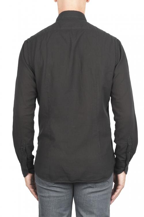 SBU 01318_19AW Chemise en coton sergé noir 01