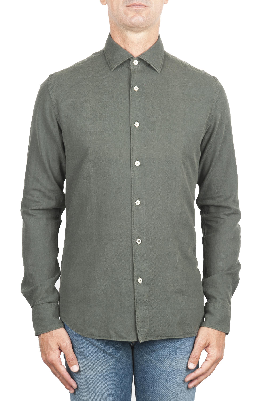 SBU 01319_19AW Green cotton twill shirt 01