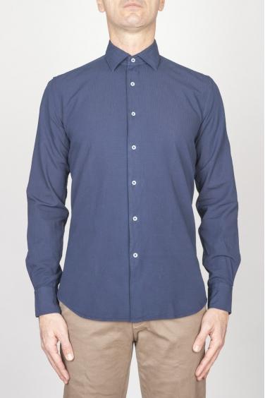 SBU - Strategic Business Unit - Camicia Classica Collo A Punta In Cotone Goffrato Blue