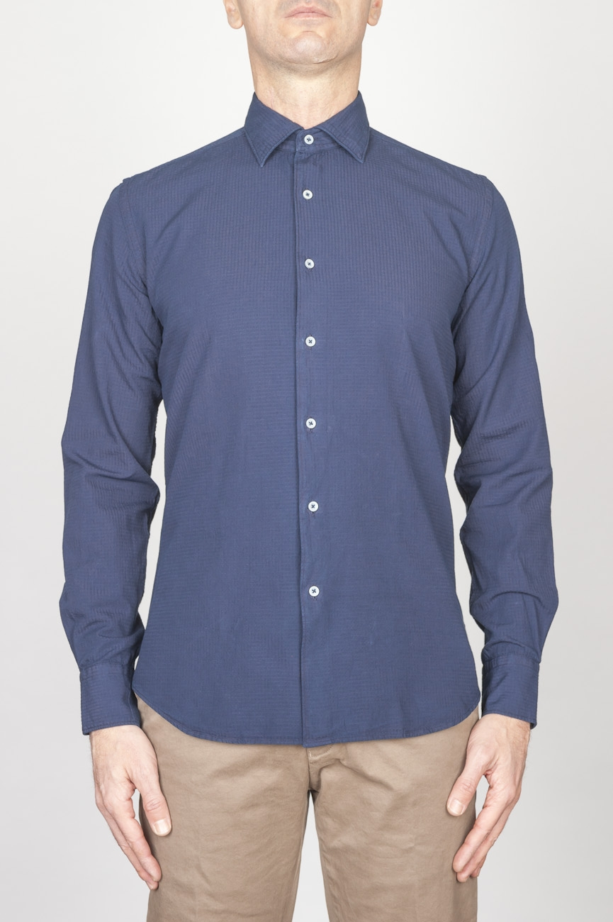 Classic Point Collar Blue Embossed Cotton Shirt