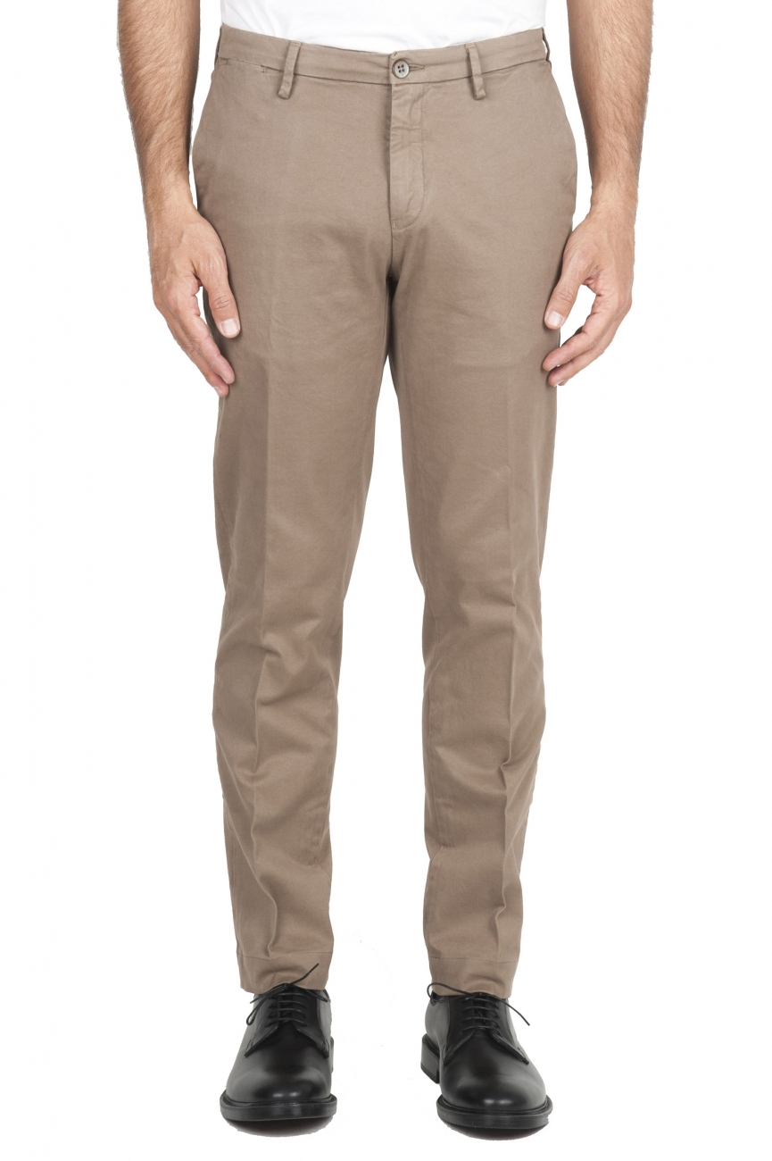 SBU 01534_19AW Classic chino pants in beige stretch cotton 01