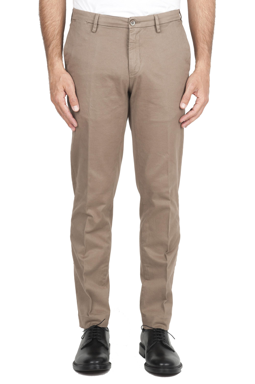 SBU 01534_19AW Pantalon chino classique en coton stretch beige 01