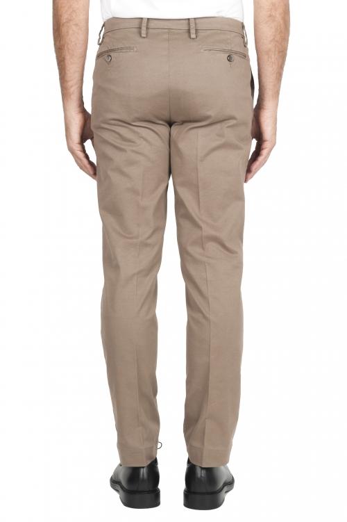 SBU 01534_19AW Pantalones chinos clásicos en algodón elástico beige 01