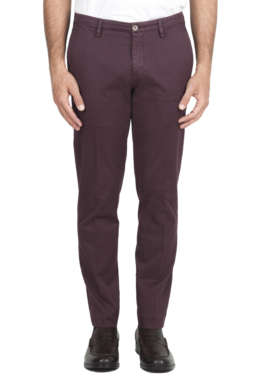 SBU 01535_19AW Pantalon chino classique en coton stretch rouge 01