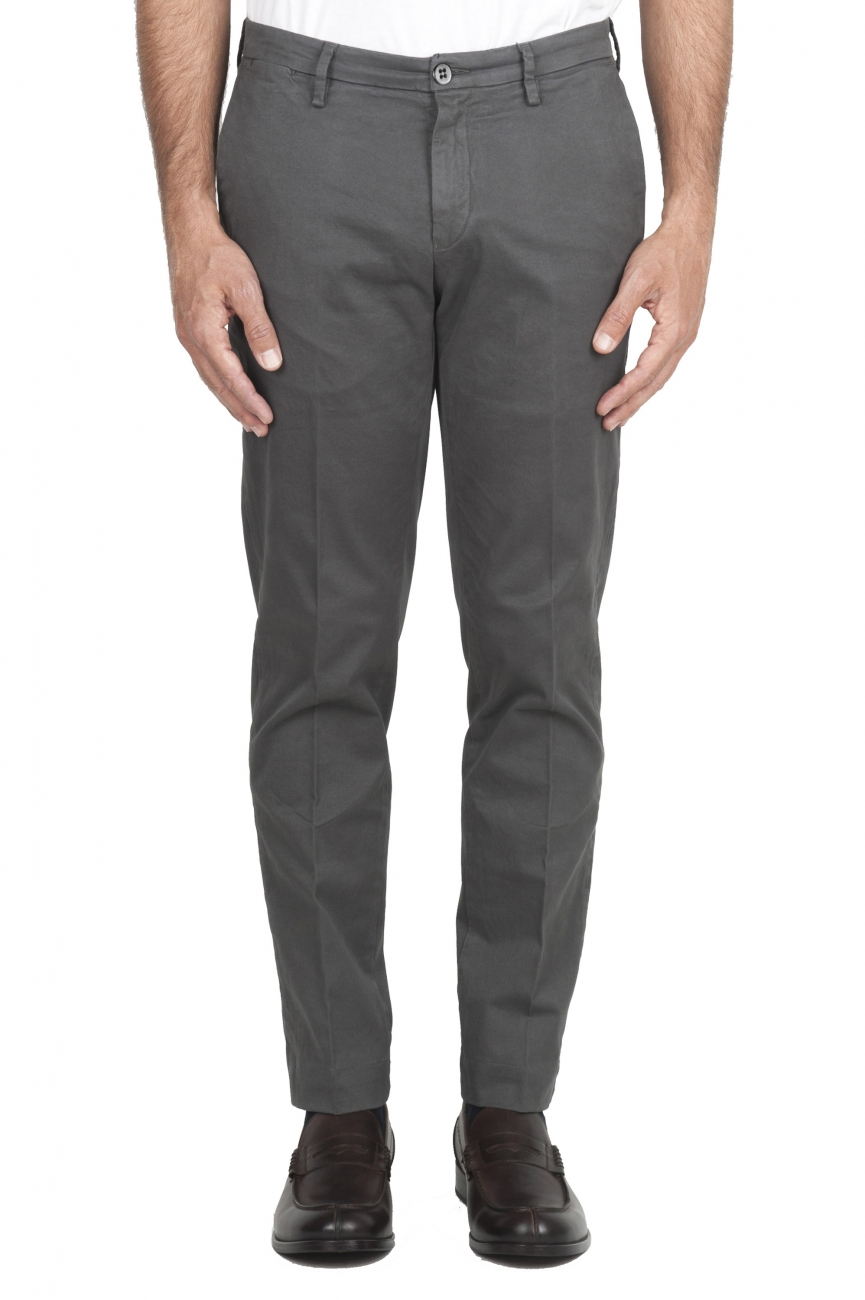 SBU 01536_19AW Pantalon chino classique en coton stretch gris 01