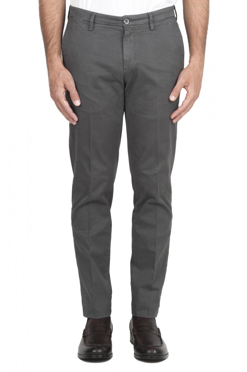 SBU 01536_19AW Pantaloni chino classici in cotone stretch grigio 01