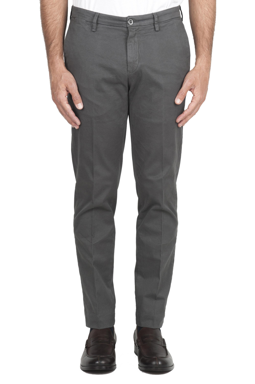SBU 01536_19AW Classic chino pants in grey stretch cotton 01