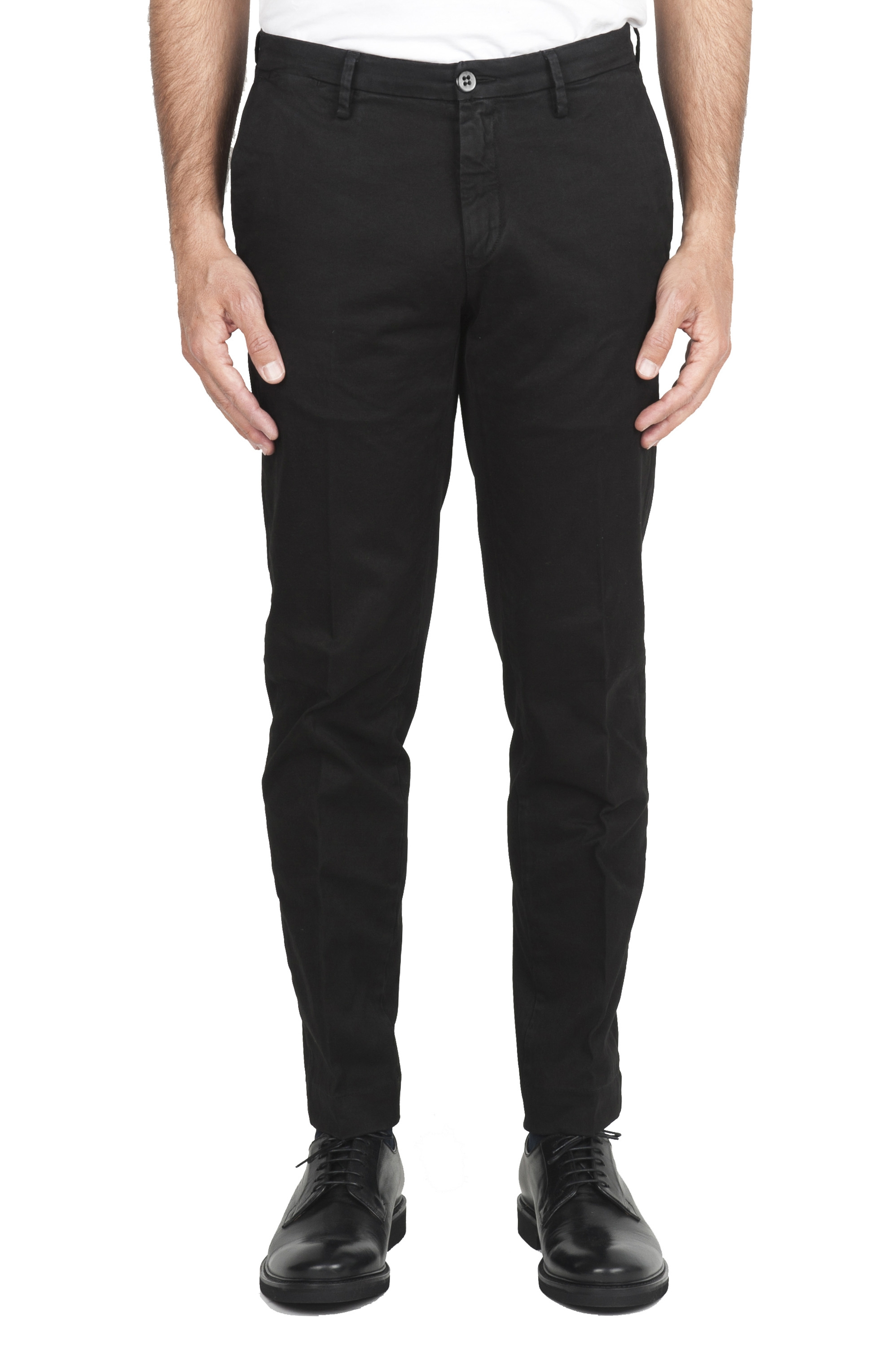 SBU 01537_19AW Classic chino pants in black stretch cotton 01