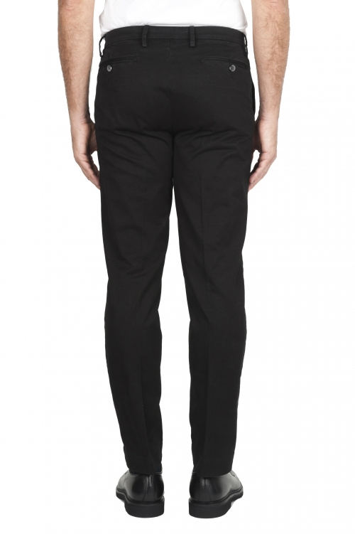 SBU 01537_19AW Pantaloni chino classici in cotone stretch nero 01