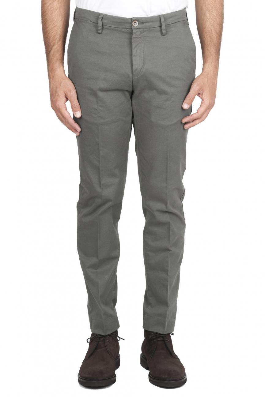 SBU 01538_19AW Pantalon chino classique en coton stretch vert 01