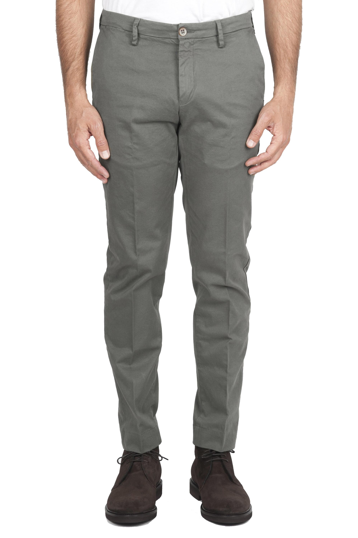 SBU 01538_19AW Classic chino pants in green stretch cotton 01