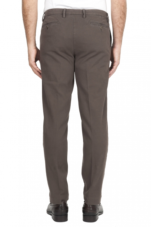 SBU 01539_19AW Classic chino pants in brown stretch cotton 01