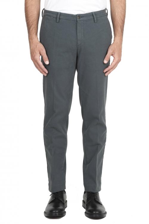 SBU 01540_19AW Pantaloni chino classici in cotone stretch grigio 01