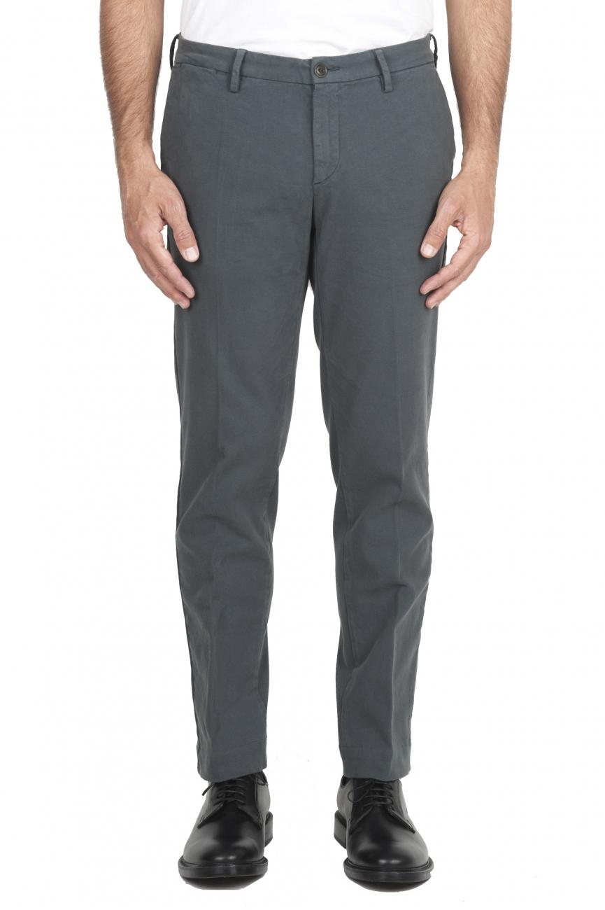 SBU 01540_19AW Pantalones chinos clásicos en algodón elástico gris 01