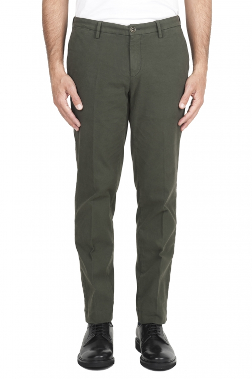 SBU 01542_19AW Classic chino pants in green stretch cotton 01