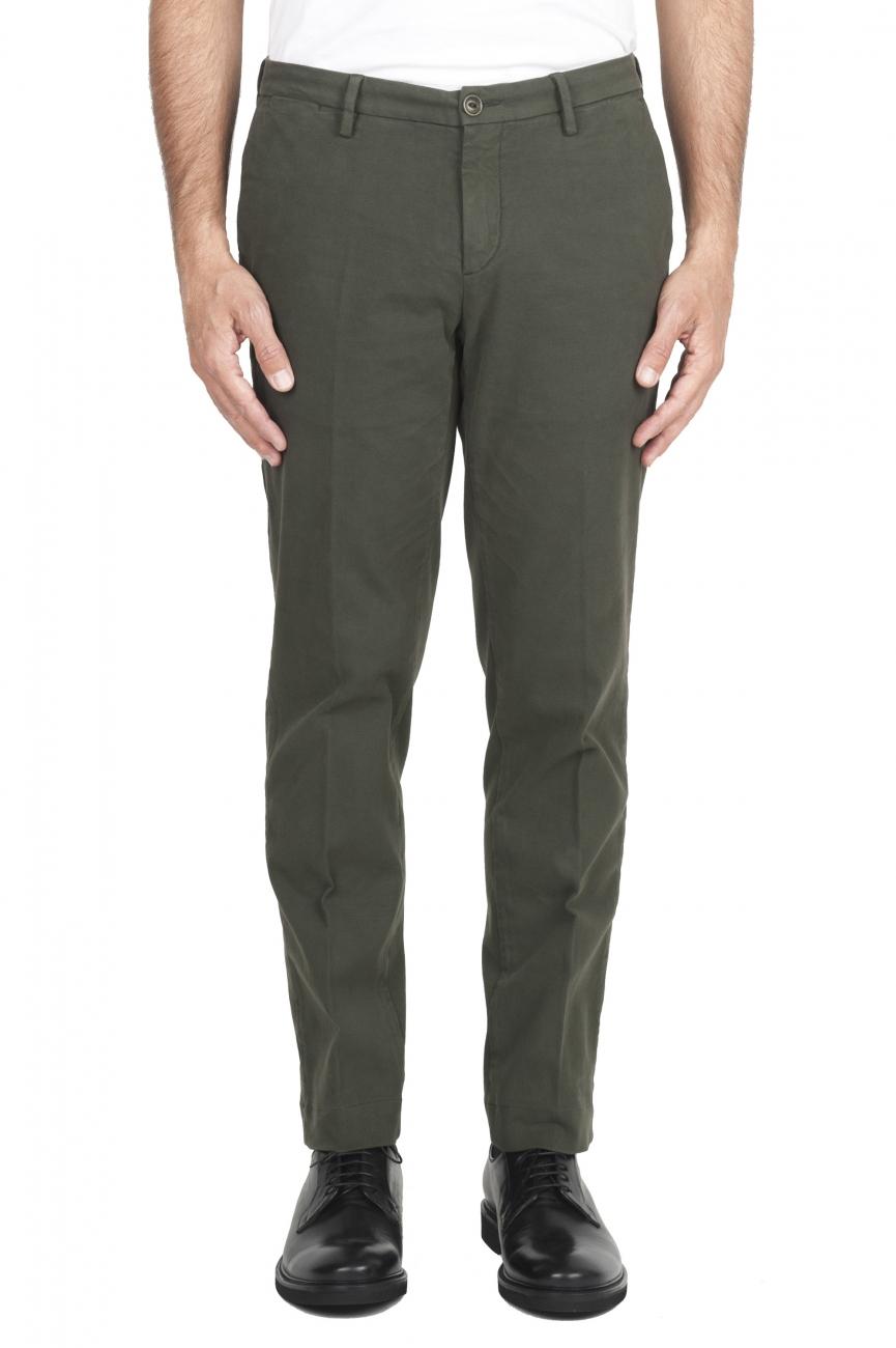 SBU 01542_19AW Pantalon chino classique en coton stretch vert 01