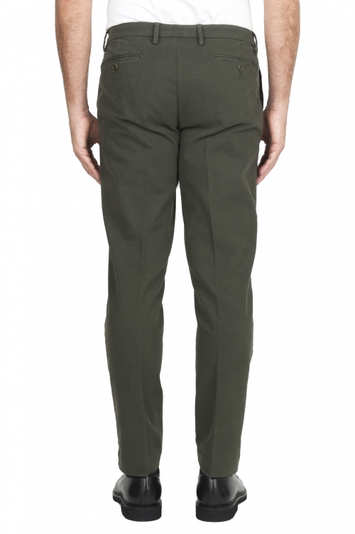 SBU 01542_19AW Classic chino pants in green stretch cotton 01