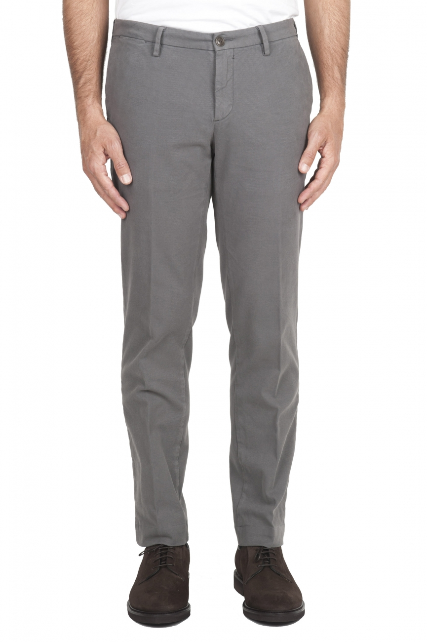 SBU 01543_19AW Pantalon chino classique en coton stretch gris clair 01